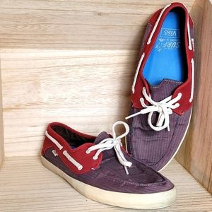 Vans Mens Burgundy and Purple Surf Sider Shoes